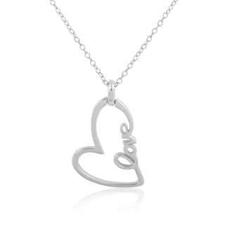 Sterling Silver Script 'Love' Heart Pendant Necklace