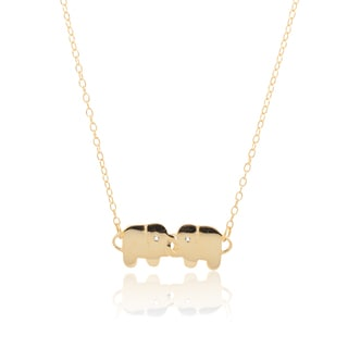 Goldtone Sterling Silver Cubic Zirconia Elephant Link Chain Necklace