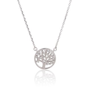 Women's Tree of Life Sterling Silver Cubic Zirconia 18-inch Chain Necklace