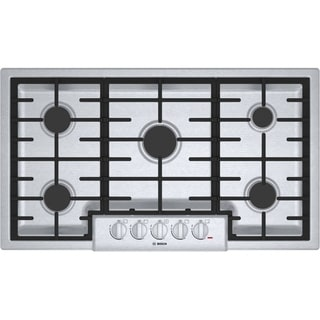 Bosch NGM8655UC 800 Series Silver Stainless Steel 36-inch Gas Cooktop