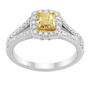 18k Two-tone 3/4ct Cushion Natural Yellow Diamond and White Diamonds Split Shank Halo Ring