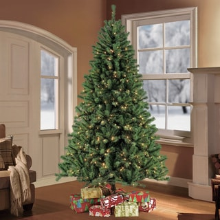 Puleo Tree Company Northern Fir 7.5-foot Pre-lit Artificial Christmas Tree