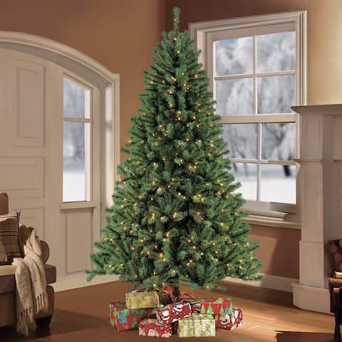 Puleo International Northern Fir 7.5-foot Pre-lit Artificial Christmas Tree