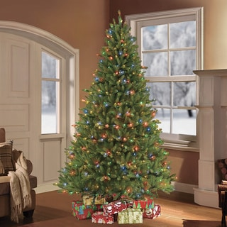 Puleo International 7.5-foot Pre-lit Fraser Fir Artificial Christmas Tree with 750 Clear and Multicolored LED UL-listed Lights