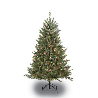 Puleo International Green Artificial Christmas Tree with 250 Multicolored Lights