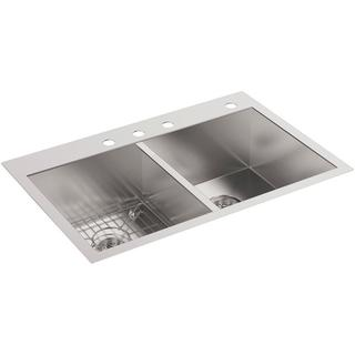 KOHLER Vault Top-Mount/Undermount Stainless Steel 33 in. 4-Hole Double Bowl Kitchen Sink with Basin Rack