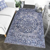 "Multicolored Nylon Machine-woven Greek Medallion Rug - 7'10"" x 9'10"""