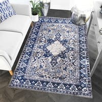 "Blue/Grey Nylon Machine-woven Oriental Rug - 7'10"" x 9'10"""