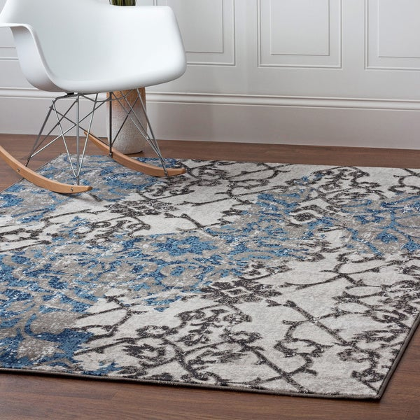 Ivory/Blue/Grey Nylon Machine-woven Distressed Maya Rug (7' 10 x 9' 10)