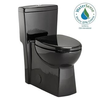 Schon 1-piece 1.28 GPF Dual Flush Elongated Toilet in Black