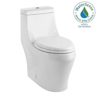 Schon 1-piece 1.28 GPF Single Flush Elongated Toilet in White