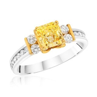 18k Two-tone Gold 1 3/8ct TDW Certified Radiant Yellow Diamond and White Diamond Ring