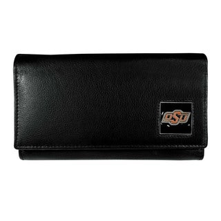 Oklahoma State Cowboys Team Logo Black Leather Women's Wallet