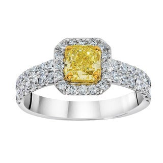 18k White Gold 1.02ct VS1 Certified Radiant Yellow Diamond and White Diamonds Halo Ring (G-H/ SI1-SI2)
