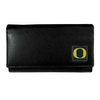 Women's NCAA Oregon Ducks Black Leather Wallet