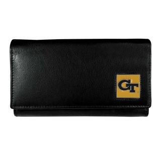 NCAA Georgia Tech Yellow Jackets Sports Team Logo Black Leather Women's Wallet