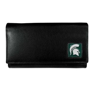 NCAA Michigan St. Spartans Women's Sports Team Logo Black Leather Wallet