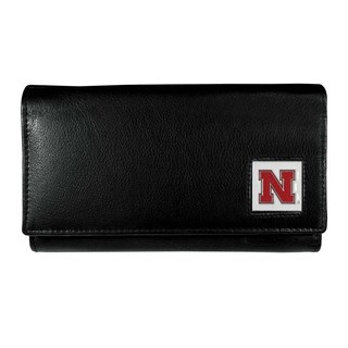 Nebraska Cornhuskers Team Logo Black Leather Women's Wallet