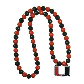 NCAA Miami Hurricanes Sports Team Logo Multicolored Beaded Necklace