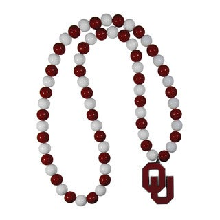 NCAA Oklahoma Sooners Sports Team Logo Burgundy/White Fan Bead Necklace