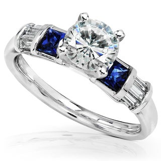 Annello by Kobelli 14k White Gold Certified Sapphire and 1 1/6ct TDW Diamond Eco-Friendly Lab Grown