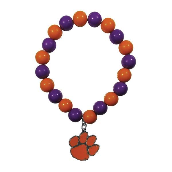 NCAA Clemson Tigers Sports Team Logo Multicolor Fan Bead Bracelet