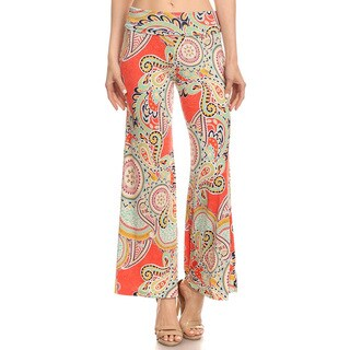 Women's Multicolor Poyester and Spandex Palazzo-pattern Pants