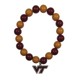 NCAA Virginia Tech Hokies Sports Team Logo Fan Bead Bracelet