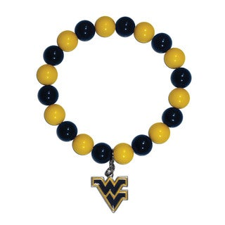 NCAA West Virginia Mountaineers Sports Team Logo Fan Bead Bracelet