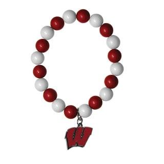 NCAA Wisconsin Badgers Beaded Bracelet