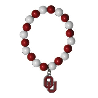 NCAA Oklahoma Sooners Sports Team Logo Fan Bead Bracelet