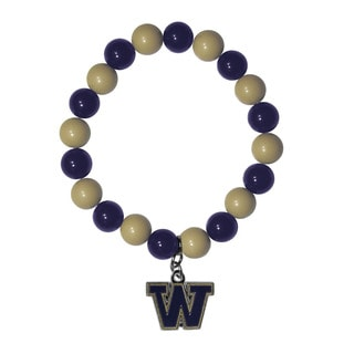 NCAA Washington Huskies Sports Team Logo Fan Bead Bracelet