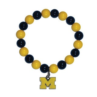 NCAA Michigan Wolverines Sports Team Logo Fan Bead Bracelet