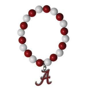 NCAA Alabama Crimson Tide Sports Team Logo Fan Bead Bracelet