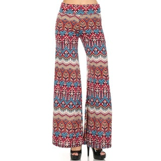 Women's Red/Blue Polyester/Spandex Patterned Palazzo Pants