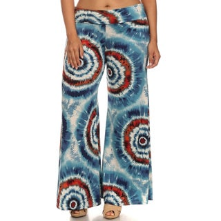 Women's Multicolored Polyester Plus-size Palazzo Pants