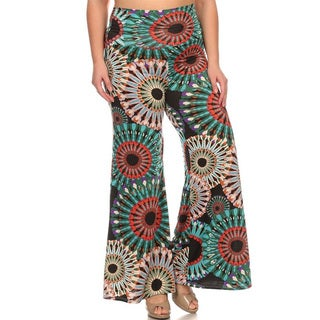 Women's Multicolored Polyester and Spandex Plus Size Palazzo Pants