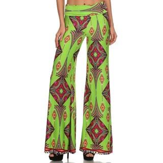 Women's Palazzo Green Pattern Polyester Pants