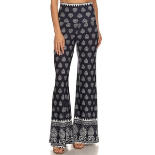 Women's Blue/Silver Polyester/Spandex Patterned Palazzo Pants