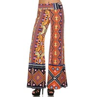 Women's Multicolored Polyester/Spandex Palazzo Pattern Pants