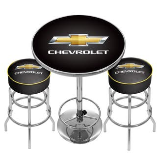 Shop Chevrolet Game Room Combo 2 Stools W Back Amp Table