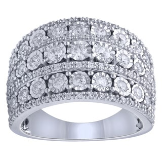 Sterling Silver 1.02CTtw Diamond 3-Row Anniversary Band (I-J, I1-I2)