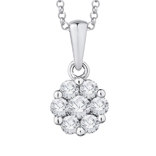 14k White Gold 1/3ct TDW Diamond Cluster Flower Pendant with Cable Chain