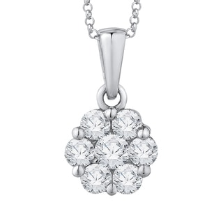 14k White Gold 1/2ct TDW Diamond Cluster Flower Pendant with Cable Chain