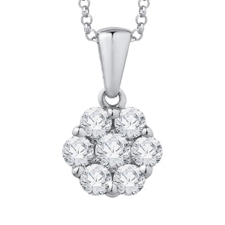 14k White Gold 3/4ct TDW Diamond Cluster Flower Pendant with Cable Chain