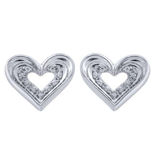 Sterling Silver Heart Diamond Accent Earrings (I-J, I2-I3)