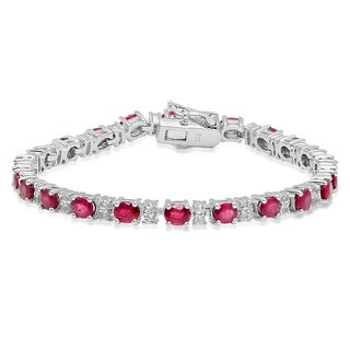 Women's Sterling Silver Oval-cut Ruby and Round-cut White Sapphire Tennis Link Bracelet
