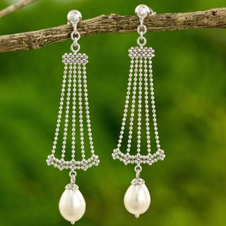 Handcrafted Sterling Silver 'Jasmine Terrace' Cultured Pearl Earrings (8 mm) (Thailand)