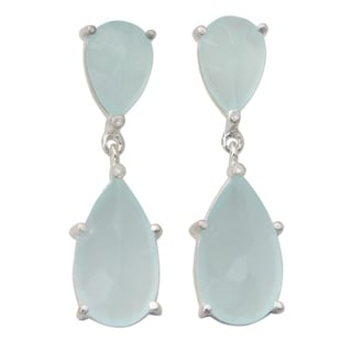 Handcrafted Sterling Silver 'Aqua Brilliance' Chalcedony Cubic Zirconium Earrings (India)