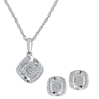 White Sterling Sivler Diamond Pendant Necklace and Earring Box Set